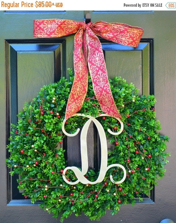 SUMMER WREATH SALE Christmas Wreath- Boxwood Wreaths with Red and Gold Berries Christmas Decor- Winter Decoration- Holiday Wreath- Christmas