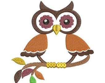 SALE 65% OFF Owl on Branch II Fall Autumn Thanksgiving Colors Machine Embroidery Designs - 4x4 and 5x7 Hoop Instant Download Sale