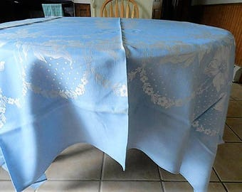 NOS Blue Tablecloth, Never Used Tablecloth, Damask Tablecloth, Rectangle Tablecloth,