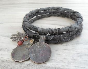 Silk Road 3 Piece Bangle Stack, Silk Wrapped, Stacking Bracelets, Tribal Gypsy Jewelry, Dark Army Green, Grey Green
