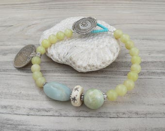 Gypsy Mala Bracelet -Jade Bracelet, Tribal Metalwork, Pastel Bracelet, Gemstone Mala, Light Yellow