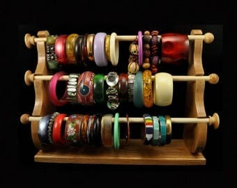 ON SALE Standing Bracelet Holder Organizer Storage Display Oak
