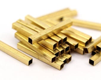 Brass Square Tubes - 24 Raw Brass Square Tubes (25x3x3mm) Sq03 Brc286