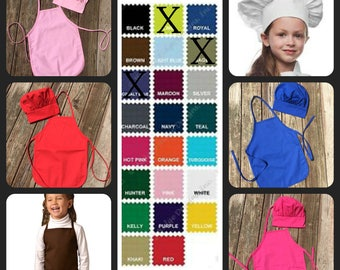 Kids Apron and Chef hats. Personalized Kids Apron.  Personalized Kids Chef Hat.  Great for crafts or baking.  FUN gift for any little one.