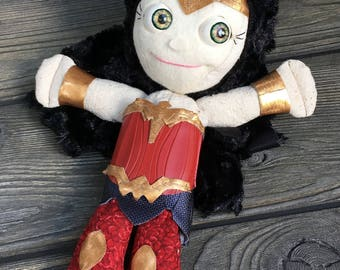 "10"" wonder woman feed sack baby doll moving eyes   by Karen Knapp of Tindle Bears"