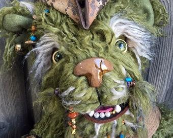 "Captain Barakus the Savy pirate artist teddy bear 24"" mossy green yak fur by Karen Knapp of Tindle Bears"