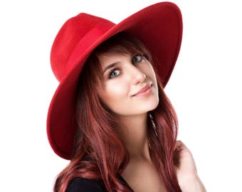 Wide Brimmed Fedora Hat Wide Brim Felt Hat Women's Felt Hat Fall Hat Fall Fashion Fall Accessory Women's Felt Fedora Hat Red Hat Boho Hat