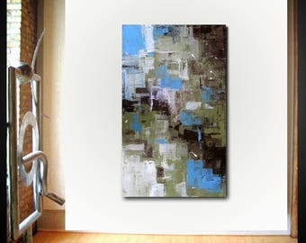 Original large abstract painting palette knife wall art deco by Elsisy 50x30 Free US shipping.