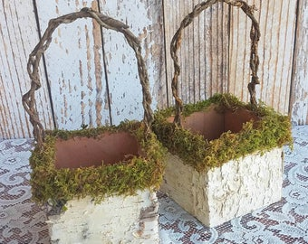 Moss Decorated Square Rustic Birch Flower Girl Basket for your Wedding
