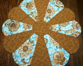 Aqua and Brown Table Topper Reverses to Easter Baskets