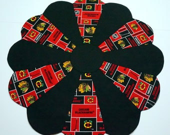 Chicago Blackhawks Table Topper Reverses to Halloween Candy on Black