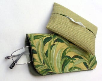Green Leaf Eye Glass Case and Matching Tissue Holder