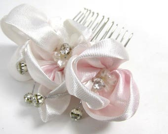 Small Blush Pink and Clear Rhinestone Silver Hair Comb