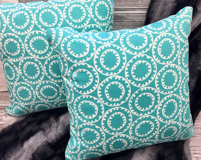 Teal outdoor pillows square circle pattern outdoor living area front porch screened porch dock lake house cottage Beach House Dreams OBX