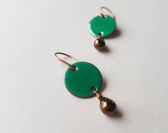 Green Dangle Earrings - Emerald Green Copper Earrings with Bronze Glass Drops - Enamel on Copper