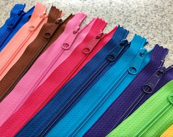 YKK® #4.5 Handbag Nylon Coil Closed Bottom Zippers - ASSORTED - 20 zippers
