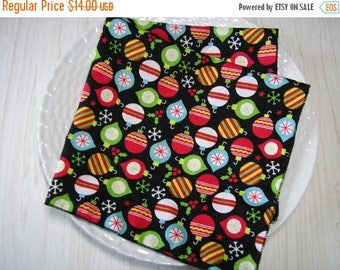 SALE Christmas Cloth Napkins Ornaments on Black Set of 4