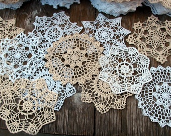 """12psc(dozen)  Hand Crochet Doily 7"""" RD White & Natural for Cottage/Victorian/Shabby/Boho/French Style,Tea Party, Vintage Wedding"""