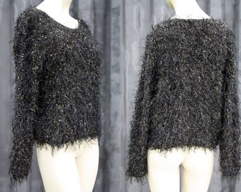 90's Vintage YARNWORKS Slouchy Black and Gold Thread Fuzzy Woman's Long Sleeve Retro Sweater