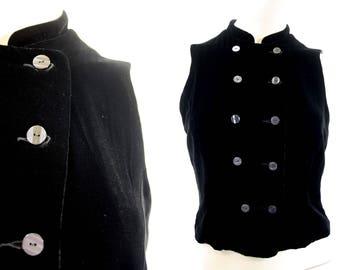90's Vest / Velvet / Minimalist / Wheaton and Katz Ltd. / Limited Edition / Black / Woman's / Crop / Retro
