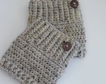 Crochet Boot Cuffs Button Accent Crochet Boot Topper Leg Warmer in Oatmeal - Ready to Ship  - Direct Checkout