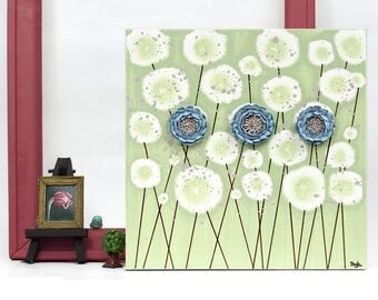 Small Canvas Art Decor with 3D Sculpted Flowers in Green and Blue - Square Painting Wall Art - 10x10