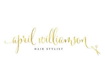 Hair Stylist Logo Gold Logo Hair Salon Logo Scissors Logo Branding Package Hairdresser Beautician Custom Logo Design Fashion Logo Blog Logo
