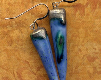 Periwinkle Blue Hand made Porcelain Organic Spikes 925 Silver Earrings, Sterling Silver Organic Blue Bronze Ceramic Earrings 925 silver