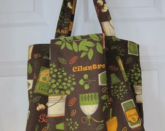 Market Bag, Herbs, Foodie, Subway Bag, Grocery Bag, 100s Fabric Choices
