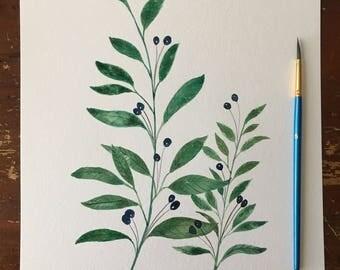Green leaf Plant Watercolor Art