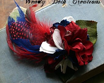 Patriotic Hair Clip Fascinator - ATS, Tribal, Belly Dance, Pin Up Girl, Red, White, Blue, Feather, Flower, Rhinestone