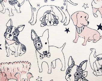Animal Print Fabric - Japanese Fabric Cotton Oxford - Sweet Puppies - Fat Quarter - Kokka