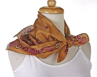 Burmel Silk Blend Vintage Fashion Scarf - Caramel Brown with Octagon Pattern - Square 21 x 21