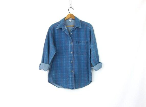 Vintage 90s Jean Shirt Button Up Plaid Denim Shirt Hipster Minimal Boho Indie Street Style Shirt Womens Size Medium