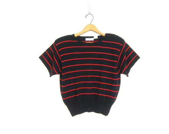 Basic Knit Cotton Top Minimal Short Sleeve 90s Crop Top Simple Black & Red Striped Modern Tee Cropped Thin Sweater Shirt Womens Large Petite