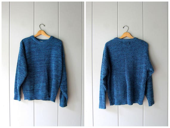 Slouchy Sweater 80s Chunky Marled Blue Loose Knit Boyfriend Sweater Retro 1980s Pullover Vintage Mens Medium Womens Large