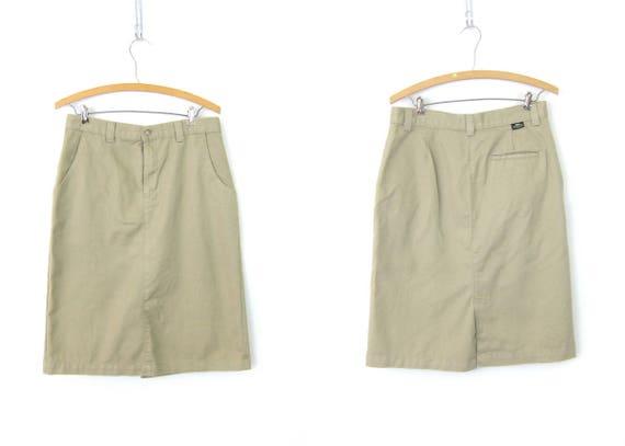 vintage Khaki midi skirt 1980s Knee Length Safari Skirt Basic Simple A Line LEE Skirt Women's Size 12 Medium