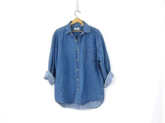 90s Jean Shirt Worn In Denim Shirt Button Up Oversized Distressed Jean Shirt Pocket Oxford Shirt Mens Size Large