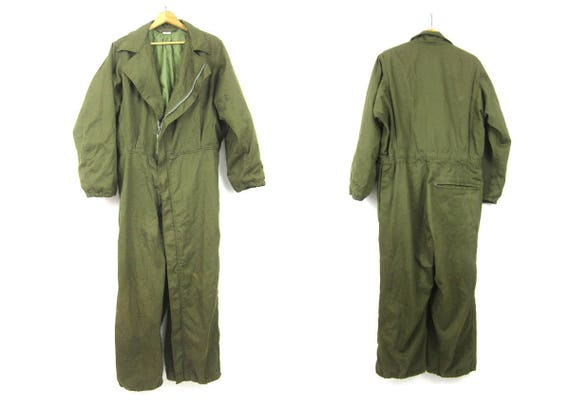 Vintage Army Overalls MIlitary Jumpsuit coveralls one piece US Army Green Suit Pants Jumper Romper Men's Size Small Flight Suit