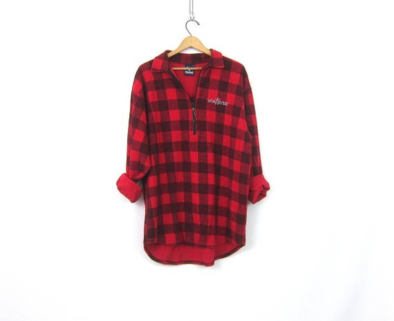 vintage Red Black Buffalo Check Sweatshirt Long WHATEVER Logo sportswear Pullover long thin sweater Jacket Unisex size Large