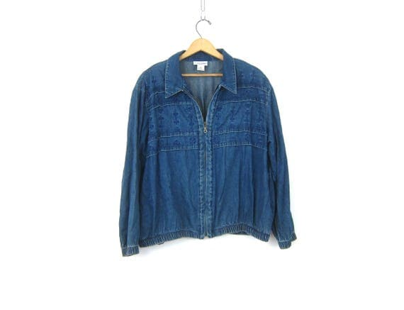 Denim Jean Jacket Zipper Front Vintage Coat Zip Up Denim Jacket Simple Layering Coat women's size XL 16