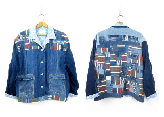 Vintage Patchwork denim jacket Southwestern Patches jean jacket Button up jean Coat Urban Country Women's Coat Indie Girl Size Large XL