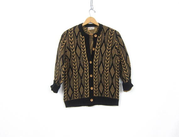 1960s Black and Brown Retro Cardigan Women's Boyfriend Button Up Sweater Geometric Knit Sweater Vintage Casual Hipster size Medium
