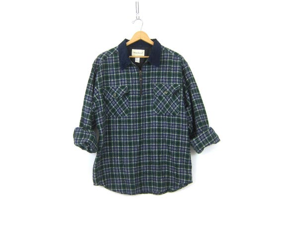 Vintage Plaid Flannel Pullover Shirt Jacket Wool Blend Fall Zipper Henley Green and Blue Rugged Urban Street Shirt Jacket Size Large
