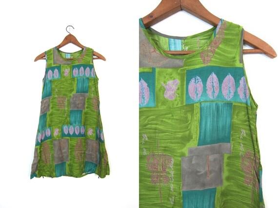 90s Floral Mini Dress Hippie Sun Dress Light Airy Slip Dress Green Blue Rayon Summer Bohemian Boho Vintage Dress Leaf Print Womens XS