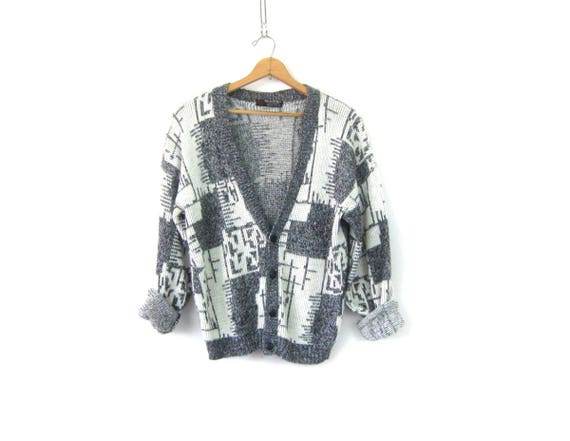 Slouchy 80s Retro Cardigan Sweater Gray and White Boyfriend Button Up Geometric Sweater Vintage Hipster Men's size Large