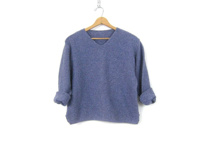 Blue Purple Vneck Sweater Cotton Knit Vneck Sweater Slouchy Pullover Oversized Sweater Basic Knit Jumper Womens Size Large XL