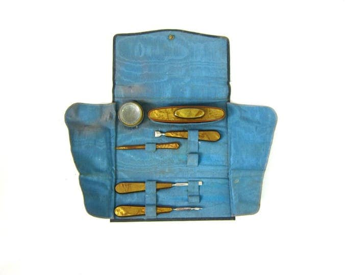 Vintage Manicure Set Wallet Set with Nail Buffer Retro Pin Up Girl Antique Home Decor