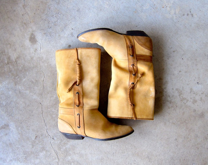 Leather Hipster Boots | Western COWGIRL Boots | Sandy Brown Suede Pull Up Bohemian Booties Boho Low Calf Boots Womens Size 7.5 / 8