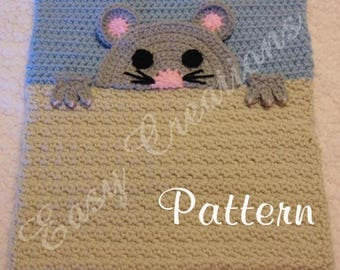 PDF CROCHET PATTERN Peek-a-Mouse, Mouse Pajama Pillow, boy Pj bag, girl Pj bag, animal Pj bag, pet pajama bag
